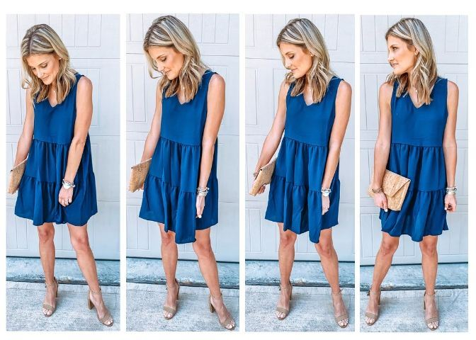 top 5 sellers in august week 1 Navy Blue Ruffle Dress Styled