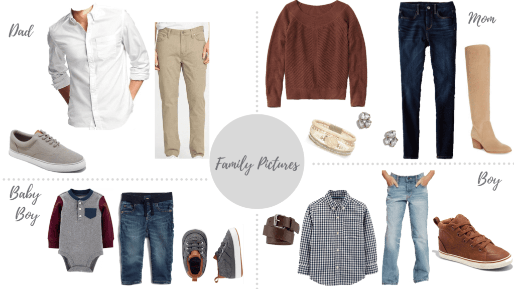 neutral color combo with a pop of rust for family pictures