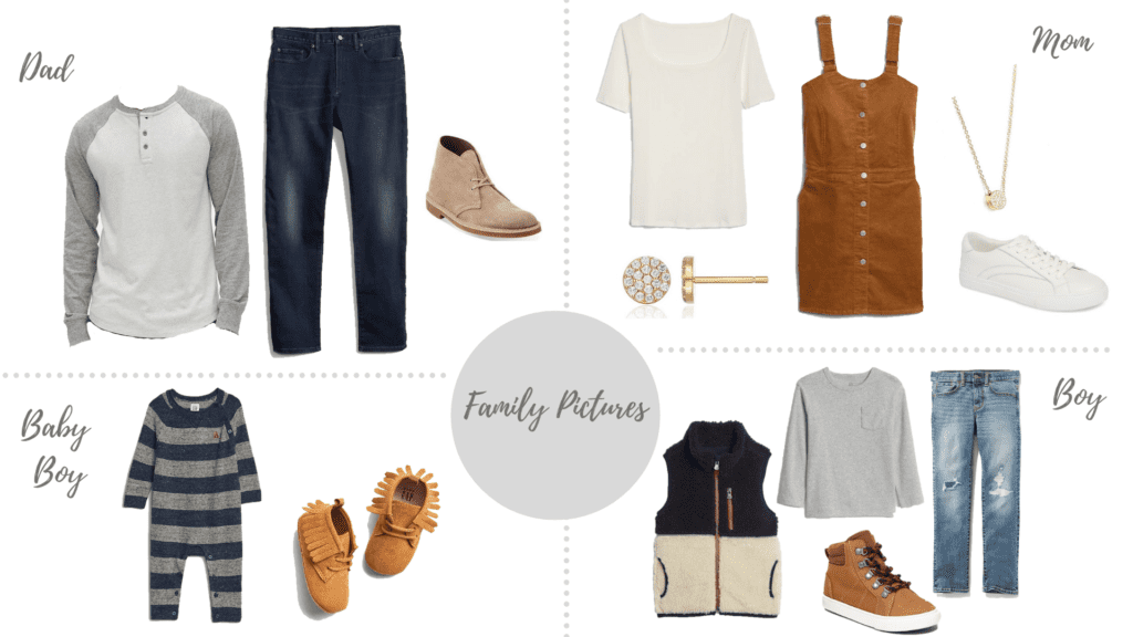 Camel and Navy Blue Colors styled for Family pictures