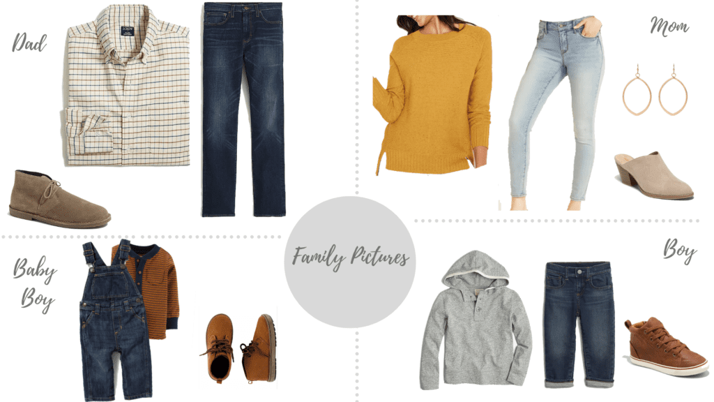 style board with neutrals and a pop of mustard on your outfit as mom.