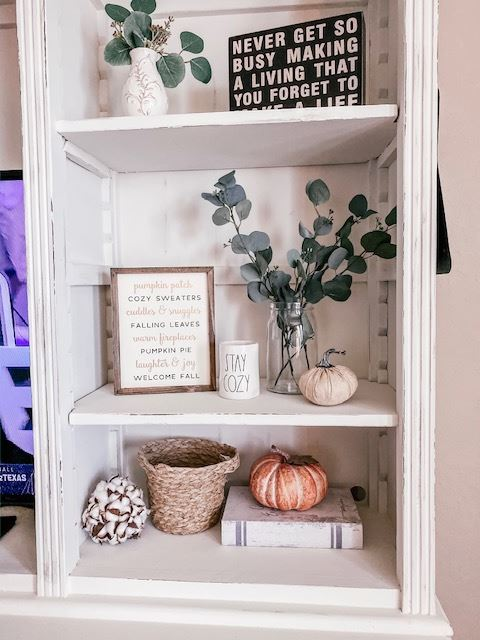 Fall decoration on the entertainment center
