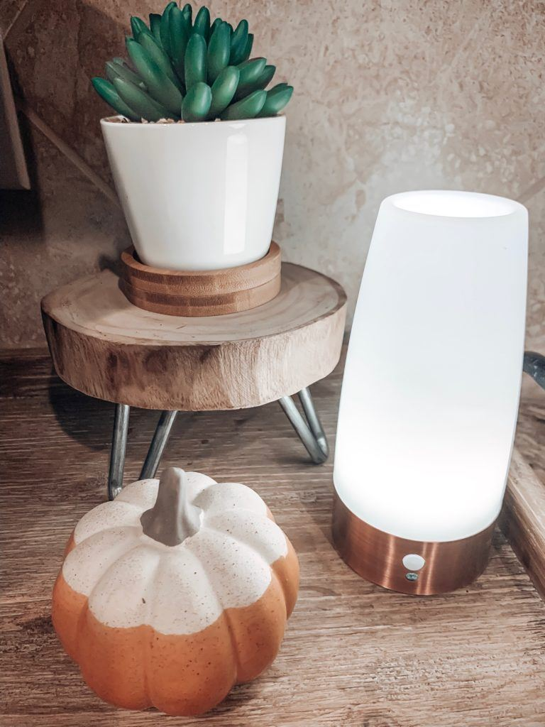 LED motion sensor light with a ceramic pumpkin from kirklands and the cutest little faux succulent atop a wood slice stand.