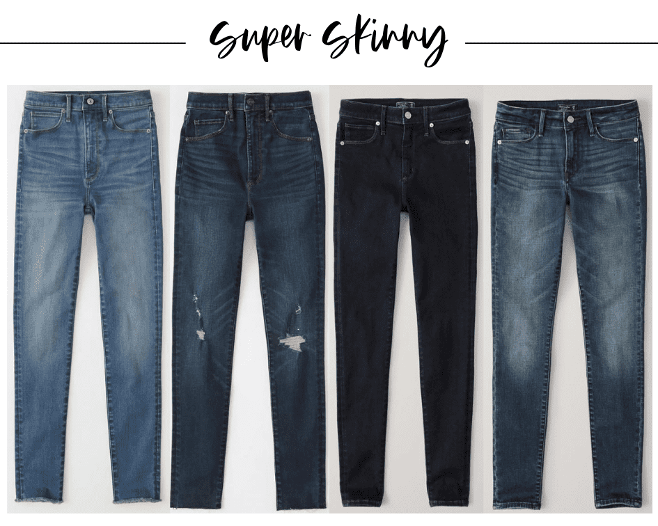4 pairs and styles of super skinny jeans from Abercrombie that are so comfortable and have the perfect amount of stretch
