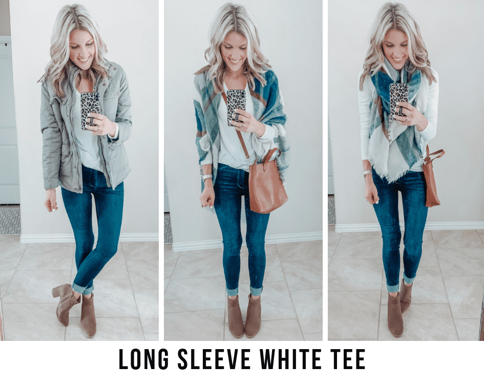 how to style a basic long sleeve white tee for Fall