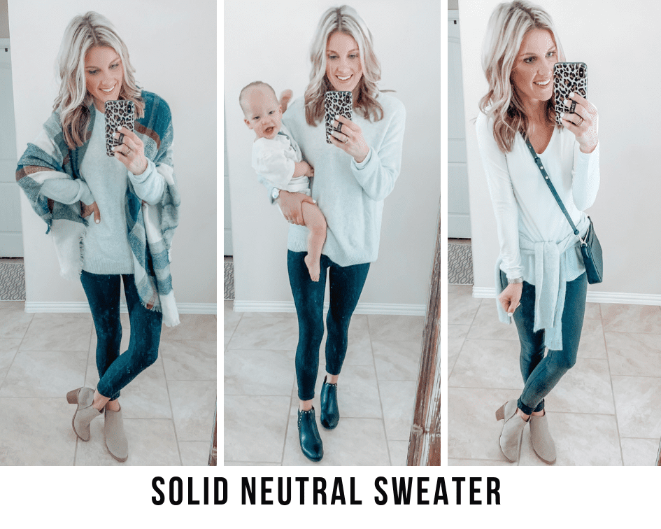 how to style a solid neutral sweater three ways