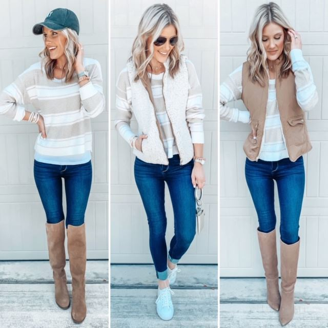 three neutral Fall outfits styled with two or more key items