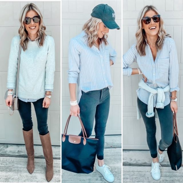 three neutral Fall outfits styled with two or more key items including basic white sneakers and classic tall boots