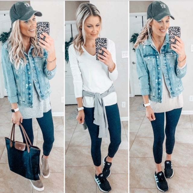 three of the six ways to style black leggings that are cute while staying casual and practical for everyday life
