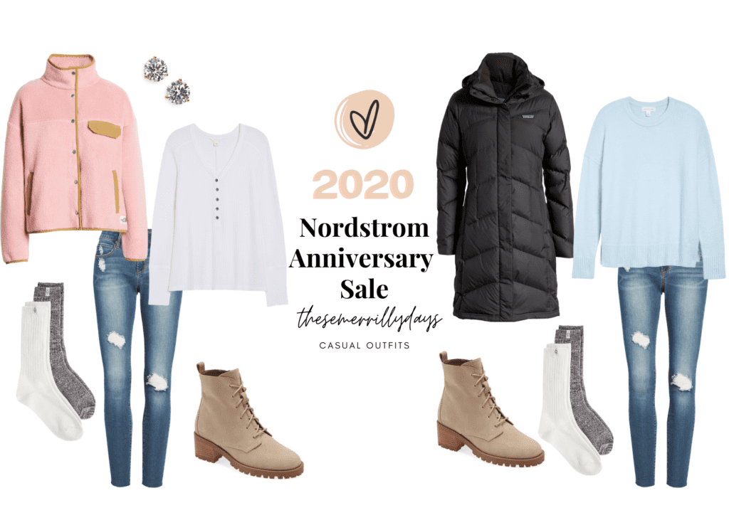 casual outfits collage with my picks from the 2020 NSALE